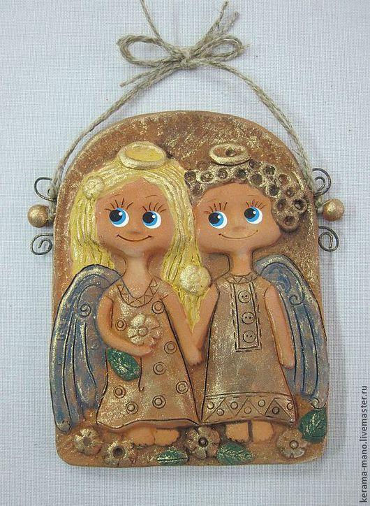 """Символизм ручной работы. Ярмарка Мастеров - ручная работа. Купить Панно """" Влюблённые ангелы"""". Handmade. Керамика, ангелы, символизм"""