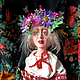 Коллекционные куклы ручной работы. Ярмарка Мастеров - ручная работа. Купить Любава. Handmade. Разноцветный, венок, мохеровые трессы, венок