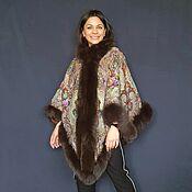 Одежда handmade. Livemaster - original item Poncho made of a scarf with a fur edge. Handmade.