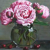 Картины и панно handmade. Livemaster - original item Oil painting bouquet of peonies soft pink. Handmade.