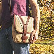 Сумки и аксессуары handmade. Livemaster - original item Leather and canvas shoulder bag. Handmade.