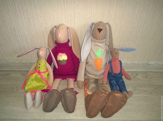 Куклы Тильды ручной работы. Ярмарка Мастеров - ручная работа. Купить Семья зайцев (50 см). Handmade. Комбинированный, семья