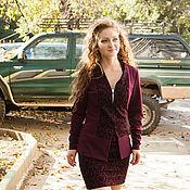 Одежда ручной работы. Ярмарка Мастеров - ручная работа Новинка - Костюм - пиджак и юбка - цвет  бордовый. Handmade.