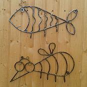 Для дома и интерьера ручной работы. Ярмарка Мастеров - ручная работа Вешалка из металла комар и рыба. Handmade.
