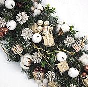 Подарки к праздникам ручной работы. Ярмарка Мастеров - ручная работа Бежевая рождественская гирлянда. Handmade.