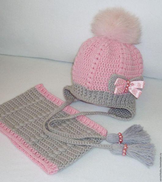 купить шапку, купить шапочку, шапка, шапочка, вязаная шапочка для девочки, для девочки, розовый, вязаная шапочка, шапочка с меховым помпоном, теплая шапка, зимняя шапка, меховой помпон