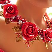 Ободки ручной работы. Ярмарка Мастеров - ручная работа Красный цветочный ободок. Красные розы. Handmade.
