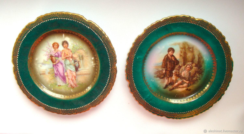 Porcelain Ladies and Gentlemen Vintage Wall Plates Pictures 2 PCs, Vintage interior, Saratov,  Фото №1