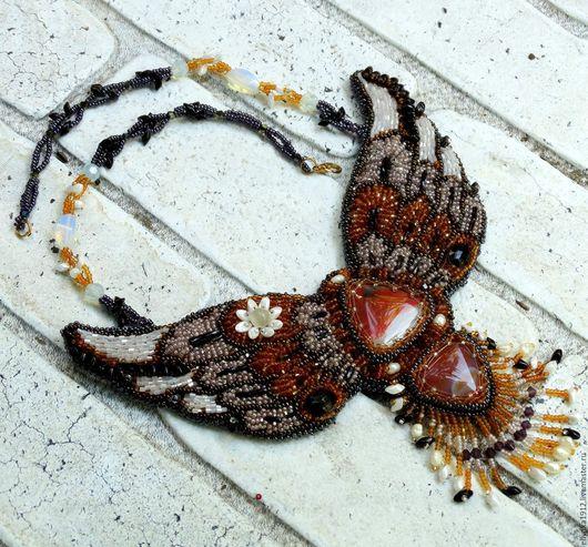 """Колье, бусы ручной работы. Ярмарка Мастеров - ручная работа. Купить Колье """"Жар птица"""". Handmade. Рыжий, Вышивка бисером"""