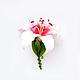 """Броши ручной работы. Брошь """"Лилия"""". Saison Romantique. Ярмарка Мастеров. Цветы из полимерной глины, брошь с цветком, брошь лилия"""