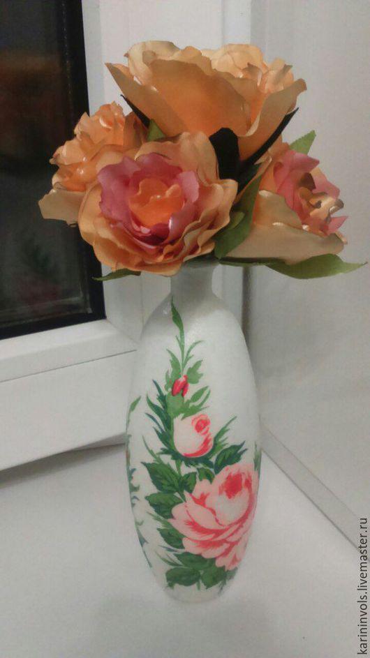 Вазы ручной работы. Ярмарка Мастеров - ручная работа. Купить декупажная ваза белая. Handmade. Бежевый, ваза для цветов