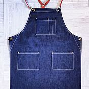 Для дома и интерьера handmade. Livemaster - original item Workshop denim apron with leather straps. Handmade.