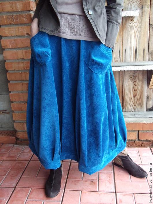 """Юбки ручной работы. Ярмарка Мастеров - ручная работа. Купить Юбка""""Бездна""""(бохо). Handmade. Синий, юбка, микровельвет"""