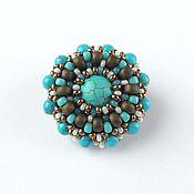Украшения handmade. Livemaster - original item Turquoise beaded brooch. Handmade.