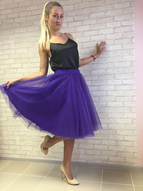 Юбка полусолнце фиолетовая