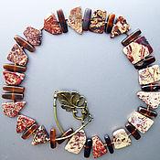 """Украшения ручной работы. Ярмарка Мастеров - ручная работа Колье """"Меня любит Пасечник"""", Яшма, Рог(стики),Бронза ,Медь. Handmade."""