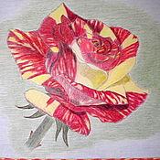 """Картины ручной работы. Ярмарка Мастеров - ручная работа Картина """"Пёстрая роза"""" - масляная пастель,цветные карандаши.. Handmade."""