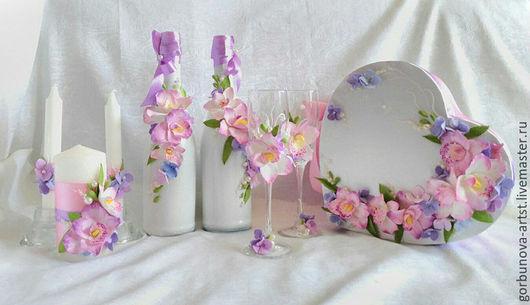 Аксессуары для свадьбы, свадьбы, аксессуары свадебные, свадебный набор, набор аксессуаров для свадьбы, свадебное шампанское, бокалы для свадьбы, аксессуары с цветами от  Анны Горбуновой