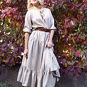 Одежда ручной работы. Ярмарка Мастеров - ручная работа Платье бежевое в клеточку шерсть. Handmade.