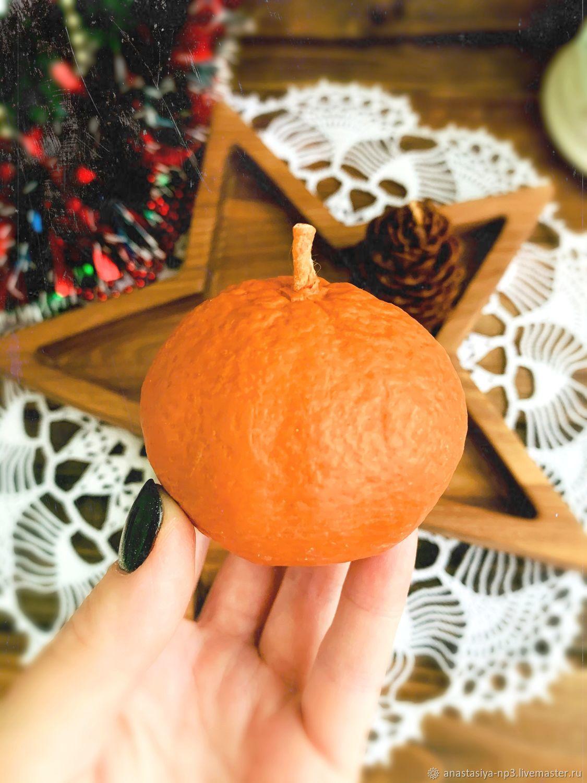 Восковая свеча-мандаринка, Новогодние сувениры, Москва,  Фото №1
