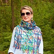 Аксессуары handmade. Livemaster - original item Soft net felted scarf, light air scarf, 34 x 170 cm. Handmade.