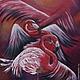 Картина маслом `Танец розовых фламинго` Масло. Холст на подрамнике. Размер 40х50см. (при другом освещение.)