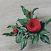 Украшения handmade. Livemaster - original item Rose brooch leather red Pomonella. Handmade.