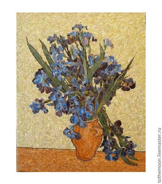 """Картины цветов ручной работы. Ярмарка Мастеров - ручная работа. Купить """"Ирисы"""" (интерпретация Ван Гога). Handmade. Мозаика, прованс"""