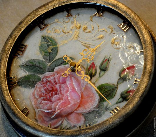 Часы  `Английская роза` декупаж Кисель Вероника