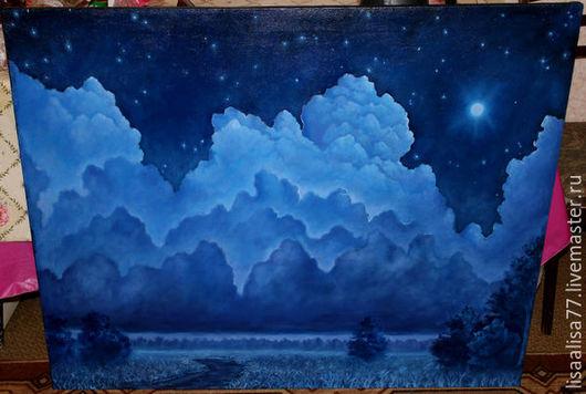 Пейзаж ручной работы. Ярмарка Мастеров - ручная работа. Купить Летняя ночь. Handmade. Тёмно-синий, ночь, интерьер, подрамник