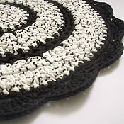 Для дома и интерьера handmade. Livemaster - original item Mat knitted from knitted cotton yarn black and white. Handmade.
