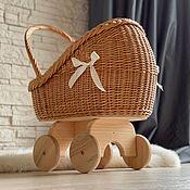 Куклы и игрушки handmade. Livemaster - original item Copy of Wicker stroller, cradle for doll, crib, wicker doll pram. Handmade.