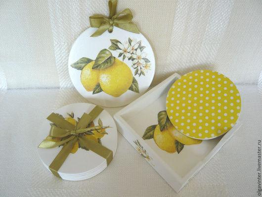 """Кухня ручной работы. Ярмарка Мастеров - ручная работа. Купить Подставки под горячее """" Чай с лимоном. """". Handmade."""