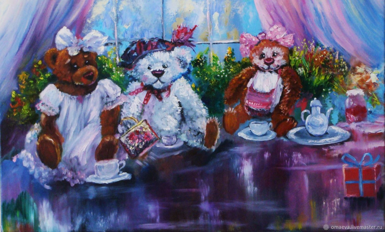 Painting,oil 'Minimise tea party'or the three bears, Pictures, Nizhny Novgorod,  Фото №1