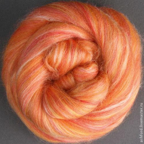 """Валяние ручной работы. Ярмарка Мастеров - ручная работа. Купить Шерсть для валяния и прядения,""""Шафран"""":. Handmade. Рыжий, шерсть"""