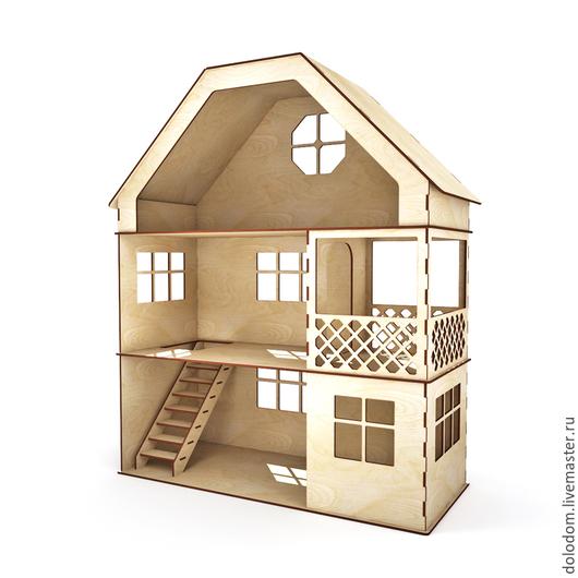 Куклы и игрушки ручной работы. Ярмарка Мастеров - ручная работа. Купить КД-0000026 Домик 3 этажа с лесенкой и балконом. Handmade.