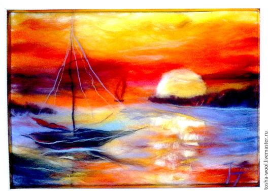 Пейзаж ручной работы. Ярмарка Мастеров - ручная работа. Купить Закат на море. Handmade. Комбинированный, картина для интерьера, шерстяная акварель