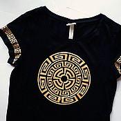 Одежда handmade. Livemaster - original item Hand-painted t-shirt with gold paint. Handmade.