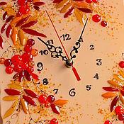 Для дома и интерьера ручной работы. Ярмарка Мастеров - ручная работа часы из стекла, фьюзинг  Рябина осенняя. Handmade.