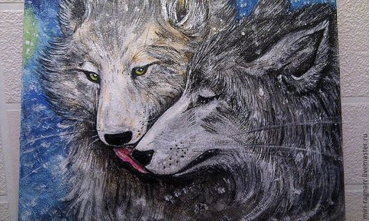 """Животные ручной работы. Ярмарка Мастеров - ручная работа. Купить картина """"Нежные волки"""". Handmade. Волки, любовь"""