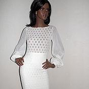 Одежда ручной работы. Ярмарка Мастеров - ручная работа Белоснежное платье с широкими рукавами на манжете. Handmade.