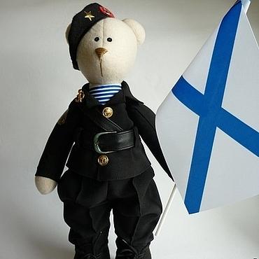Куклы и игрушки ручной работы. Ярмарка Мастеров - ручная работа Медведь -морской пехотинец .черный. Handmade.