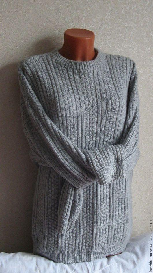 Для мужчин, ручной работы. Ярмарка Мастеров - ручная работа. Купить Мужской свитер. Handmade. Серый, свитер спицами, мужчине