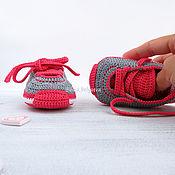вязаные пинетки кроссовки пинетки кеды вязаные пинетки в подарок серый