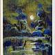 """Пейзаж ручной работы. Ярмарка Мастеров - ручная работа. Купить Картина из шерсти""""Лунная ночь"""". Handmade. Разноцветный, картина для интерьера"""