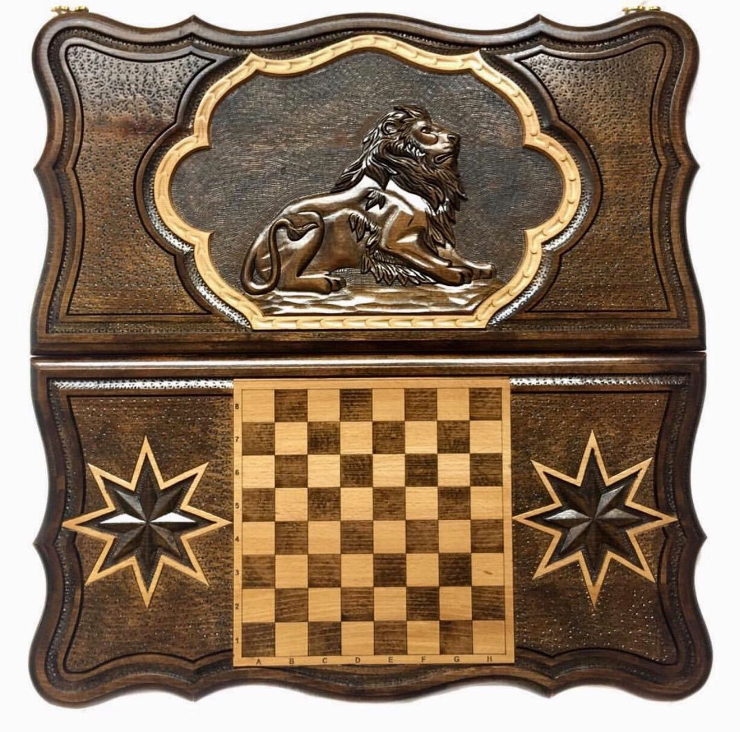 Backgammon carved Art. .021 ' Graceful lion', Backgammon checkers, Moscow,  Фото №1