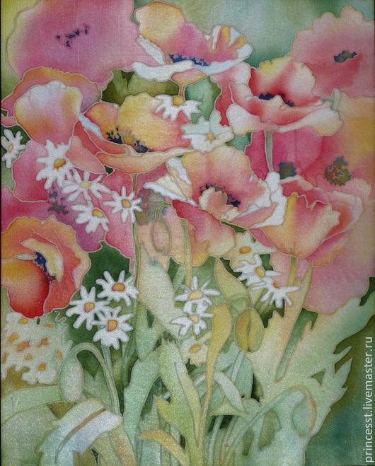 Картины цветов ручной работы. Ярмарка Мастеров - ручная работа. Купить Маковое лето. Handmade. Маки, роспись по ткани