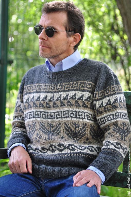 Для мужчин, ручной работы. Ярмарка Мастеров - ручная работа. Купить Норвежский свитер. Handmade. Норвежский жаккард