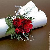 Открытки ручной работы. Ярмарка Мастеров - ручная работа Приглашение-свиток Красные розы Страсть Огонь Цветы. Handmade.