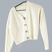Одежда handmade. Livemaster - original item cardigans: Short cardigan with a raised pattern. Handmade.